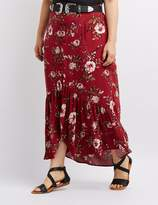 Charlotte Russe Plus Size Floral Button-Up Maxi Skirt