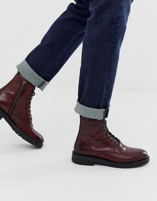 Walk London wolf lace up boots in burgundy leather-Red