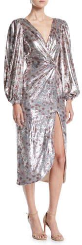 Johanna Ortiz Alfonsina V-Neck Long-Sleeve Floral-Print Sequin Cocktail Dress w/ Slit