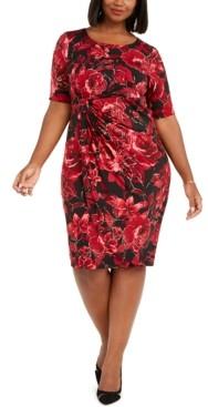 Connected Plus Size Metallic Floral-Print Sarong Dress