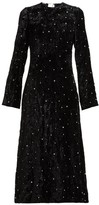 Miu Miu Crystal-embellished Open-back Velvet Dress - Womens - Black