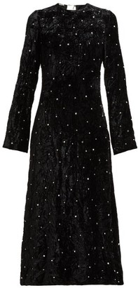 Miu Miu Crystal-embellished Open-back Velvet Dress - Black