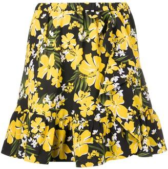 MICHAEL Michael Kors Ruffled-Hem Floral-Print Crepe Mini Skirt