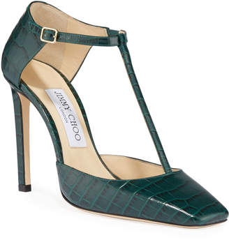 Jimmy Choo Lexica Crocodile-Print T-Strap Pumps