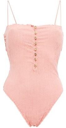 Vix Paula Hermanny Romance Scales Button-embellished Laser-cut Swimsuit