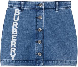 Burberry Girl's Emilia Button Front Logo Denim Skirt, Size 3-14