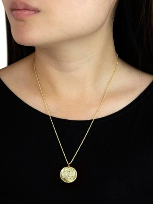 Love Gold Sterling Silver Gold Plated Double Sided Coing Pendant Necklace