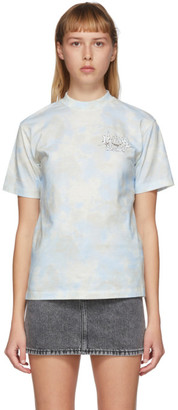 Off-White Blue Tie-Dye Meteor Shower Casual T-Shirt
