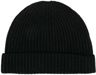 N.Peal Metallic-Thread Ribbed Knit Beanie