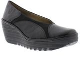 Fly London Black Yani Leather Wedge