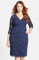 Marina Plus Size Women's Embellished Three Quarter Sleeve Lace Dress
