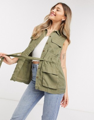 Pieces utility sleeveless jacket co-ord n khaki