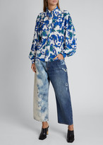 Givenchy Floral-Print Button-Front Chained Blouse