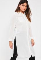 Missguided Plus Size White Crepe Maxi Shirt