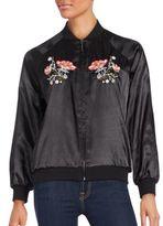 Saks Fifth Avenue RED Floral Motif Bomber Jacket