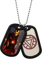 Iron Man FINE JEWELRY Marvel Mens Stainless Steel Double Dog Tag Pendant Necklace