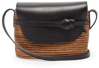 Cesta Collective - Leather-panel Wicker Cross-body Bag - Womens - Tan Multi