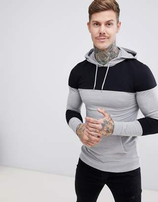 Asos Design DESIGN muscle hoodie with color blocking-Gray