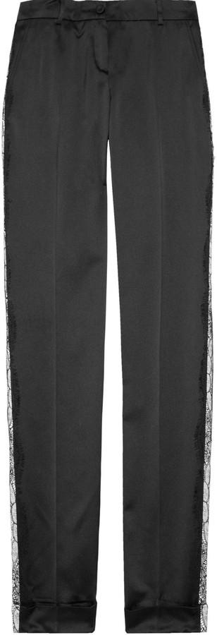 D&G Lace-detailed satin tuxedo pants