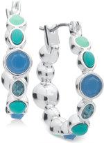 Nine West Silver-Tone Blue Stone Hoop Earrings