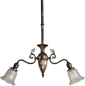 Rejuvenation Japanned Copper 2-Light Victorian Pendant w/ Original Finish