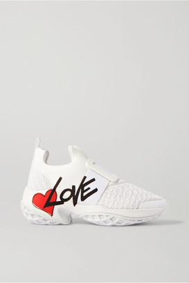Roger Vivier Viv Run Lovely Printed Neoprene, Mesh And Leather Sneakers - White