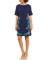 Adrianna Papell Stretch Crepe Floral Embellished Dress