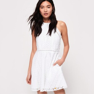 Superdry Teagan Cotton Short Halterneck Dress in Broderie Anglaise