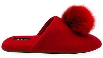Minnie Rose Fox Fur Pom-Pom Cashmere Slippers