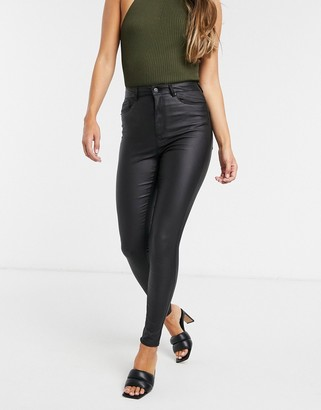 Vero Moda coated skinny jeans with high rise in black