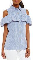 MICHAEL Michael Kors Cold Shoulder Ruffle Flounce Stripe Shirt