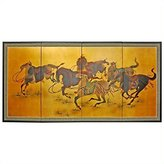 Oriental Furniture Asian Art, Decor and Gifts, 36 by 72-Inch Storm Riders Chinese Gold Leaf Wall Screen Painting