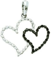 DazzlingRock Collection 0.17 Carat (ctw) 14K White Gold & White Diamond Ladies Double Heart Pendant