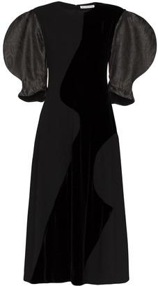 REJINA PYO Celia dual-textured pouf-sleeve midi dress