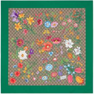Gucci Online Exclusive GG Flora print silk scarf