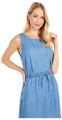Mod-o-doc Cross Hatch Tencel Denim Side Button Tank (Blue) Women's Clothing