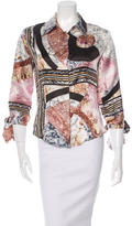 Just Cavalli Mosaic Printed Button-Up Top