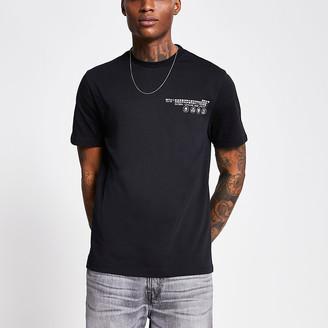 River Island Black 'Community' print regular fit T-shirt