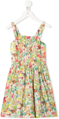 Bonpoint floral-print flared dress