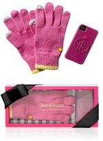 Juicy Couture Texting Gloves & Iphone Case Set in Pink Cerise