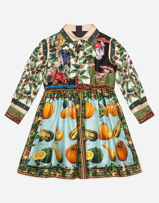 Dolce & Gabbana Twill Midi Dress With Fall Print