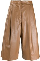 Nude high-waisted faux-leather shorts