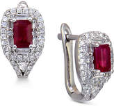 Macy's Ruby (3/4 ct. t.w.) and Diamond (1/2 ct. t.w.) Stud Earrings in 14k White Gold