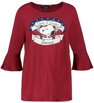 Ulla Popken Snoopy Print Cotton-Mix T-Shirt with 3/4 Length Sleeves