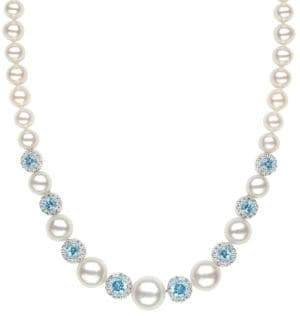 Lord & Taylor Sterling Silver Freshwater Pearl Blue and White Topaz Necklace