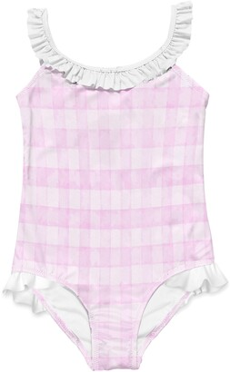 Stella Cove Kids' Pink Check One-Piece Swimsuit