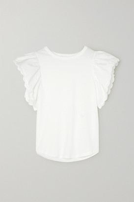 See by Chloe Scalloped Cotton-poplin And Cotton-jersey Blouse - White