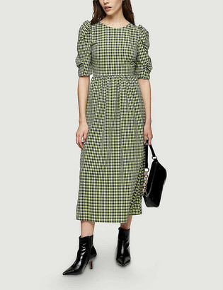 Topshop Gingham lace-up back woven midi dress