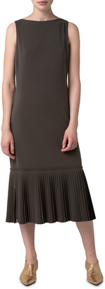 Akris Punto Sleeveless Techno Crepe Plisse-Hem Midi Dress