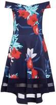 Quiz Navy Aqua And Red Floral Print Bardot Dress